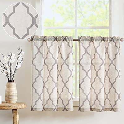 Buy Jinchan Kitchen Curtains Linen Cafe Curtains Moroccan Tile Design Short Curtains For Window Treatment Set 2 Panels 24 Inch Gray On Flax Online In Turkey B07dwtyxpf