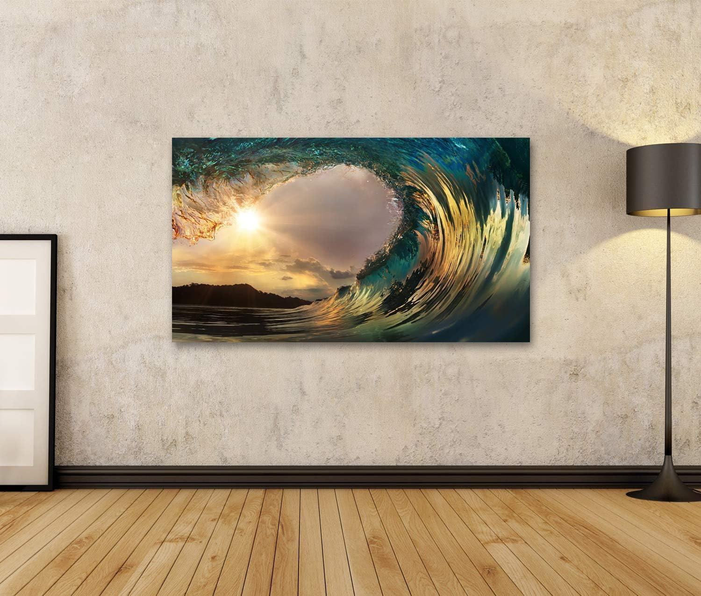 islandburner Tableau Tableaux sur Toile Magnifique Vague de Surf au Coucher du Soleil sur la Plage Impression Image Motif Moderne D/écoration Affiche Photo RUL