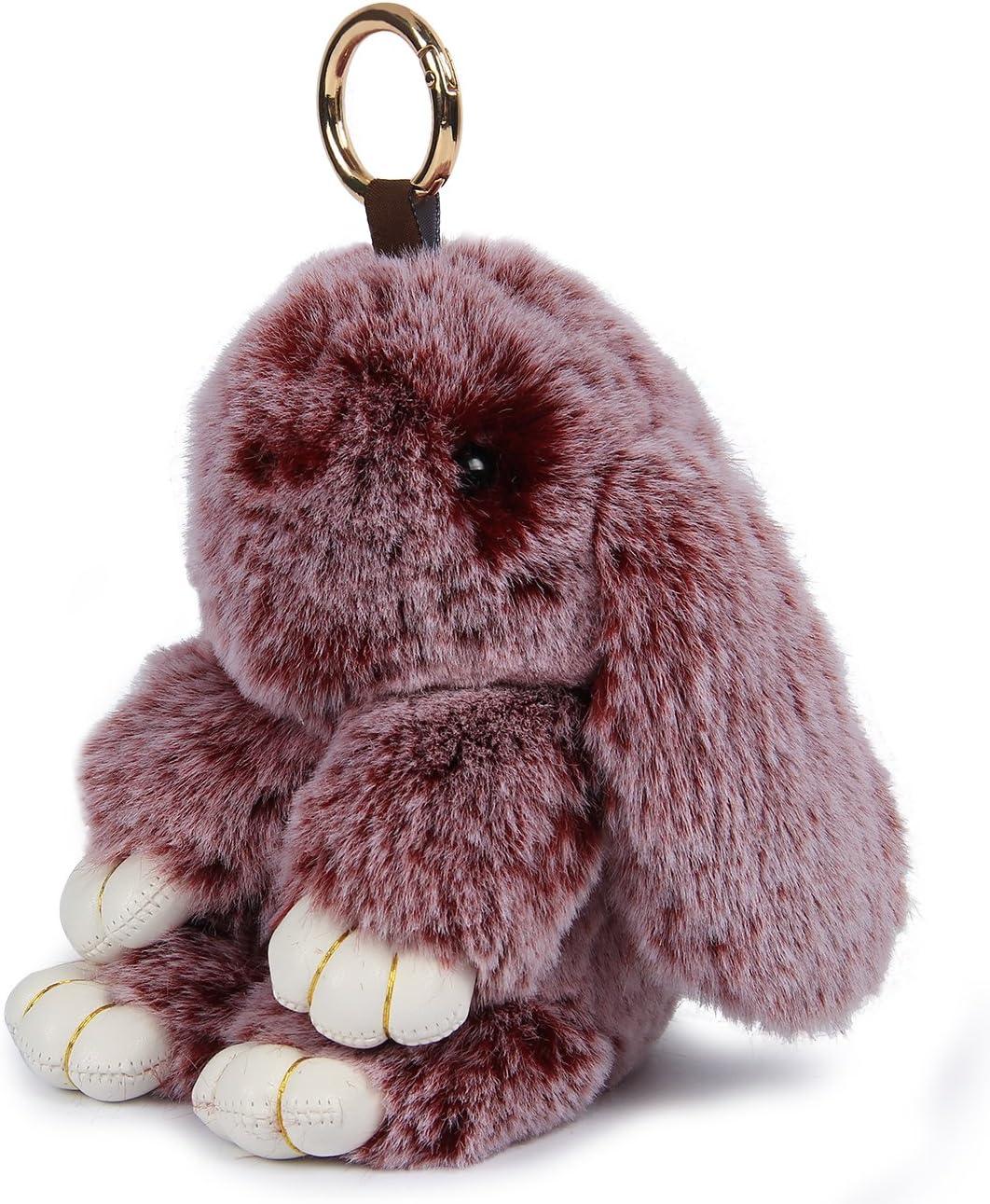 Yodensity Llavero de peluche de conejo llavero de coche anillo dominante del coche monederos bolsos accesorios