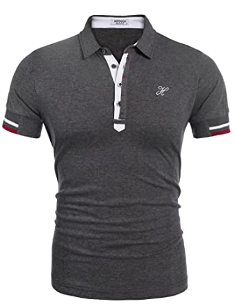 9ee3f4780ba9 Hotouch Mens Fashion Polo Shirts Casual Slim Fit Basic Sport Polo T ...