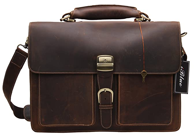 8938df943d2e Iblue Leather Messenger Bag Mens Vintage Business Laptop Briefcases Dark  Brown 7164r