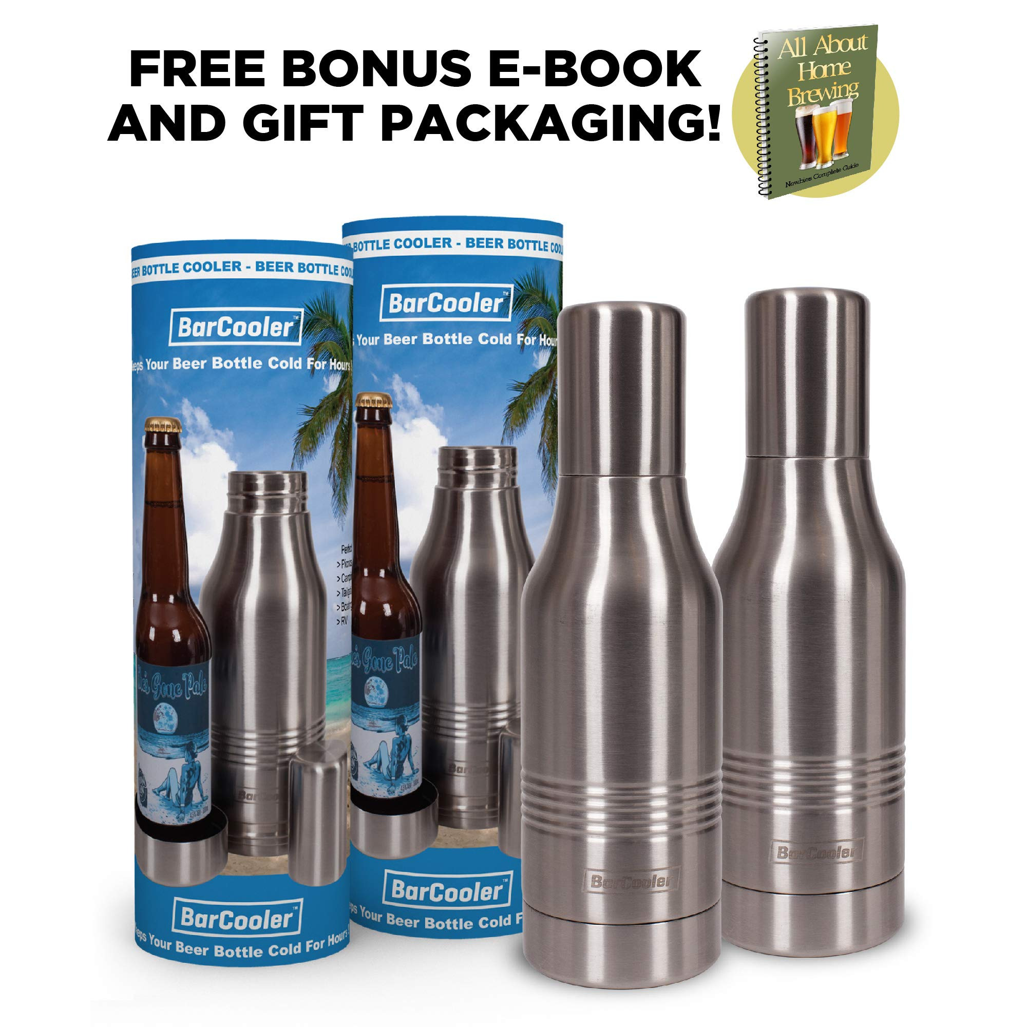 Beer Bottle Cooler - Double Wall Stainless Steel Beer Holder Keeps Your Beer Colder. Great Fathers Day Gift for Beer Lovers ! Fits 12oz Beer Bottles. Includes BONUS E-Book + Gift Box. Twin Pack by BarCooler