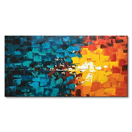 Hand Painted Abstract Oil Painting on Canvas Modern Wall Art Decor Hanging