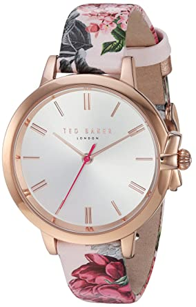 dc877117f Amazon.com  Ted Baker Rose Gold Dial Ruth Flower Leather Strap Ladies Watch   Watches