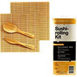 BambooWorx- Sushi Making Kit, 2 sushi rolling mats, 1 rice paddle, 1 rice spreader, sushi rolling kit, 100% bamboo sushi mats and utensils by BambooWorx