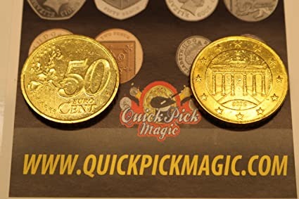 QUICK PICK MAGIC PAR DE Real Doble Cara 50 CENTAVO Euro [1 Dos Caras y 1 Dos Cruz Euro Moneda]: Amazon.es: Juguetes y juegos