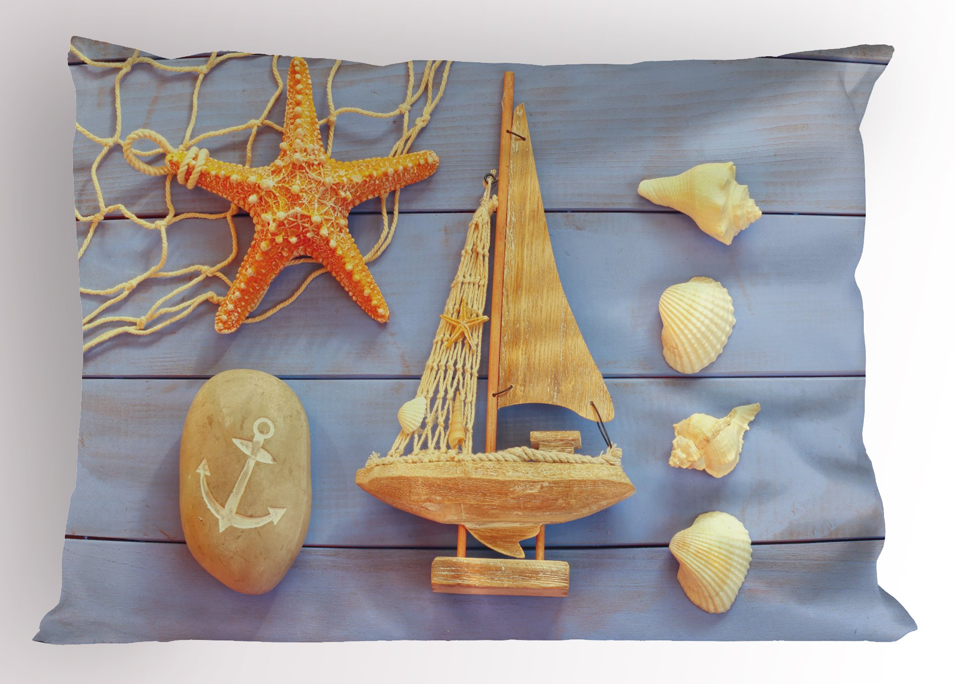 Lunarable Nautical Pillow Sham, Sea Concept on Antique Wood Back with Shells Starfish in Summer Objects Picture, Decorative Standard Size Printed Pillowcase, 26 X 20 inches, Cream Blue by Lunarable (Image #1)
