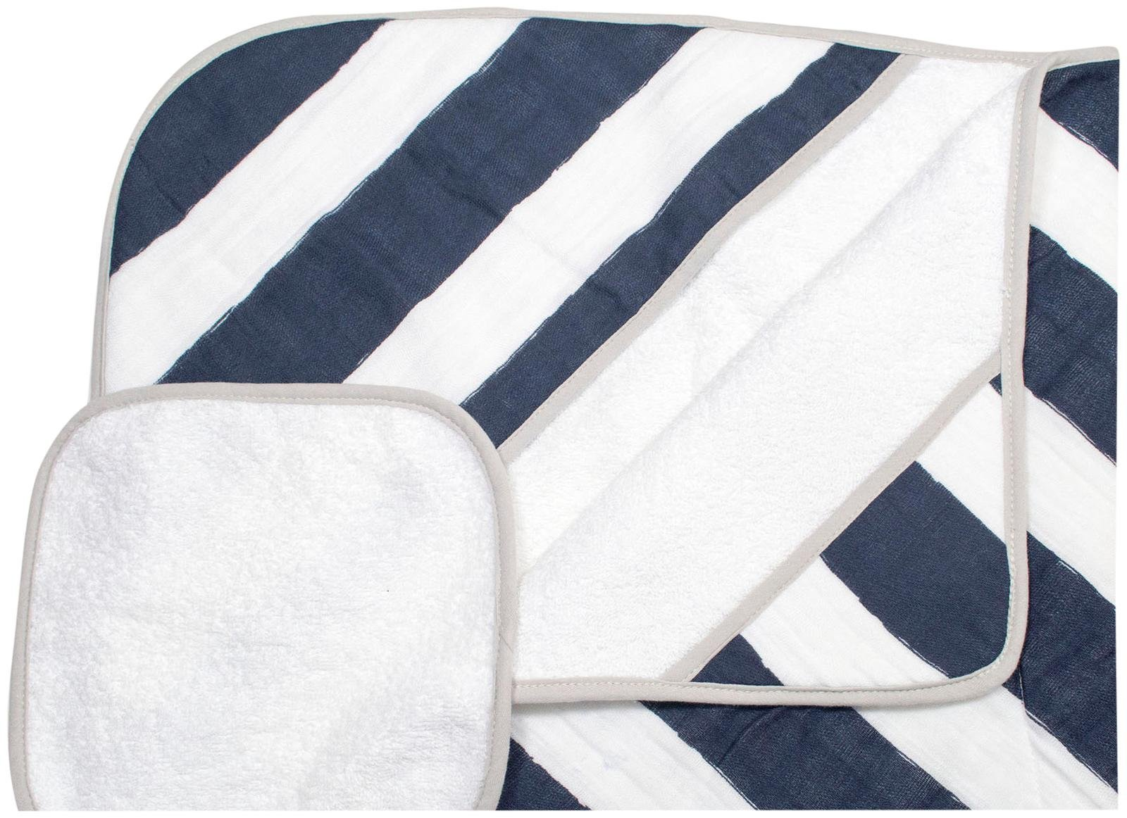 Little Unicorn Cotton Hooded Towel & Wash Cloth Set - Navy Stripe by Little Unicorn