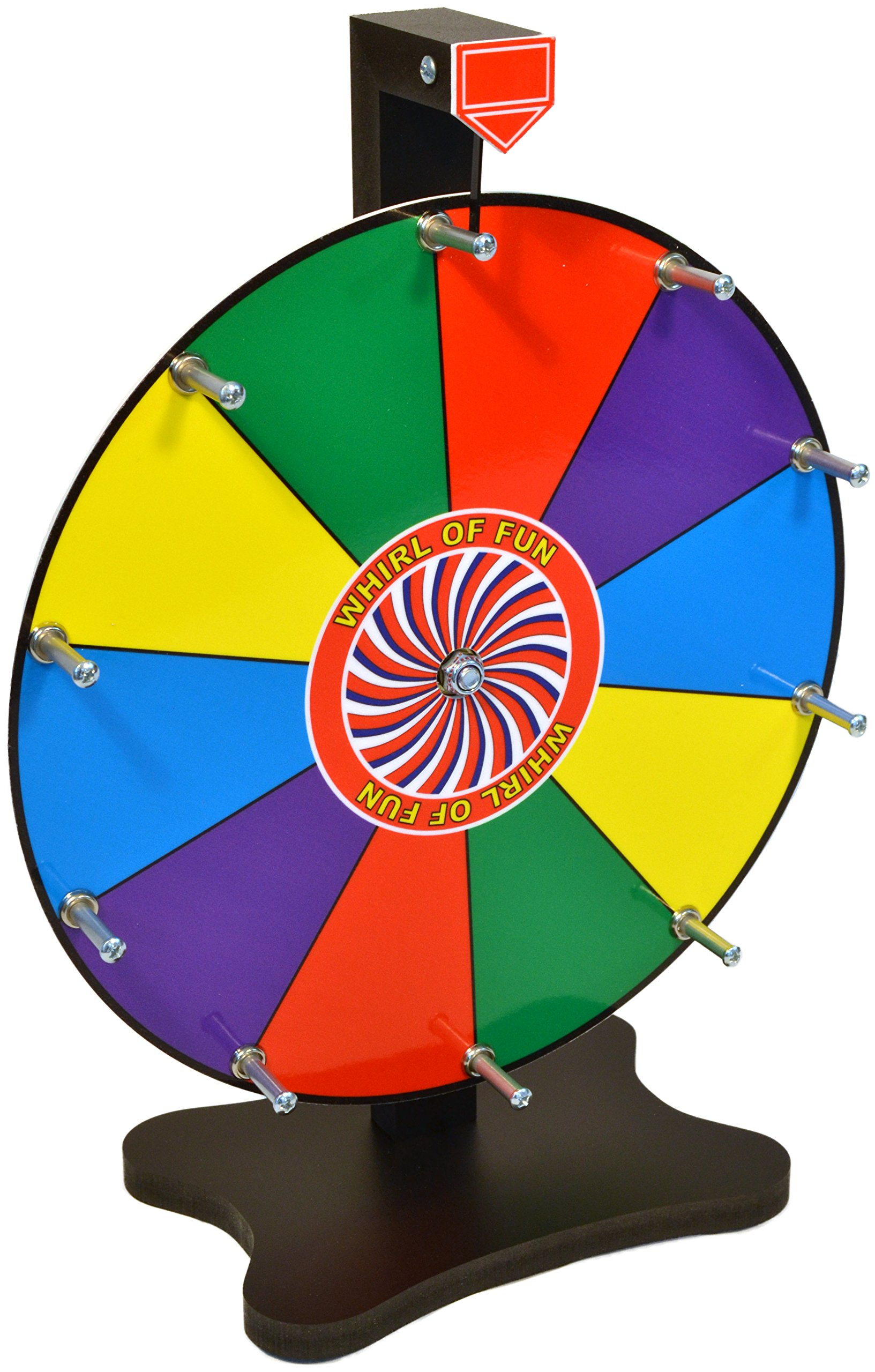 Moon Glow Sports Prize Wheel 12 Inch-Tabletop Color Spinning Wheel with Stand, 10 Slots, Customize with Included Dry Erase Marker, Made in USA