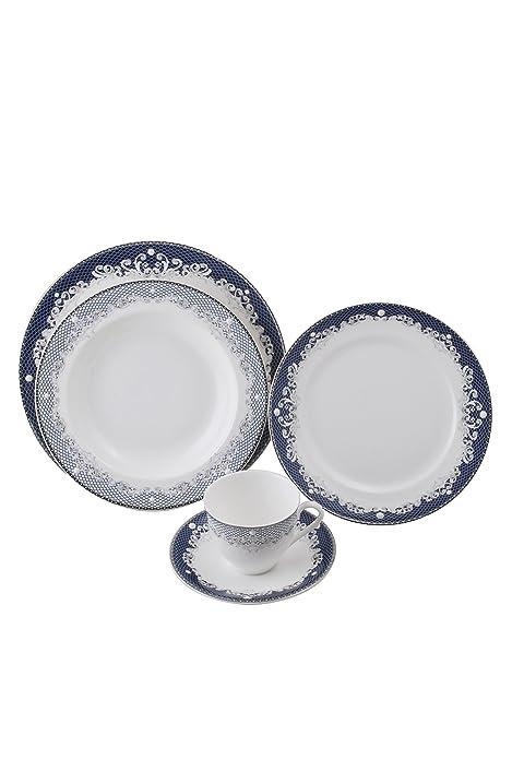 5 Pcs Dinner Set - Victorian Lace Blue  sc 1 st  Amazon.com & Amazon.com | 5 Pcs Dinner Set - Victorian Lace Blue: Dinnerware Sets
