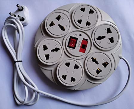Round Extension Board 6 Amp 8+1 Universal Multi Plug Point  4 Three pin and 4 Two pin sockets  Extension Cord with LED Indicator, Fuse and Switch  Cor
