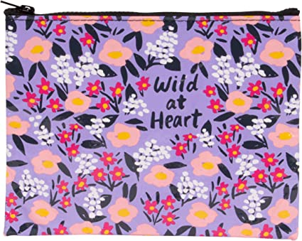 Constructed Out of 95/% Recycled Material Wild At Heart Measures 7.25 by 9.5 inches Blue Q Zipper Pouch QA278