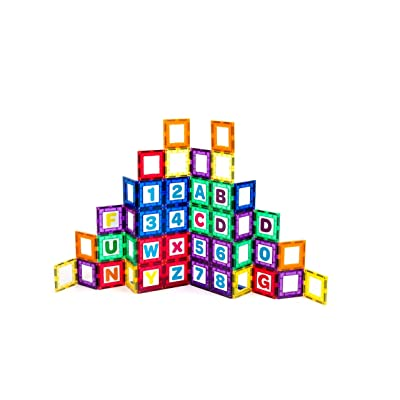Playmags Magnetic Tile Building Set: Exclusive Educational Clickins 36-Pc. Kit: 18 Super Strong Clear Color Magnet Tiles Windows & 18 Letters & Numbers Stimulate Creativity & Brain Development: Toys & Games
