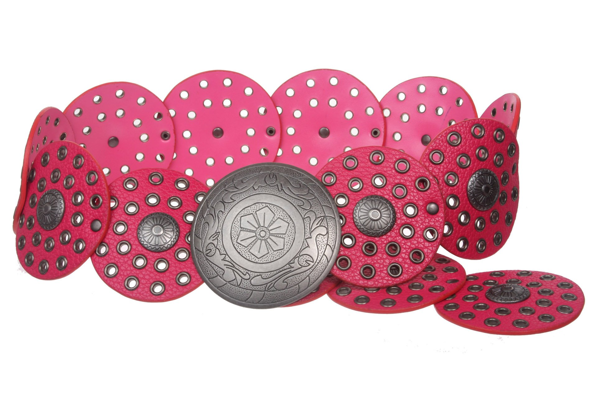 3 1/2'' (90 mm) Wide Ladies Wide Boho Disc Concho Leather Belt, Fuchsia | M - 42 END-TO-END