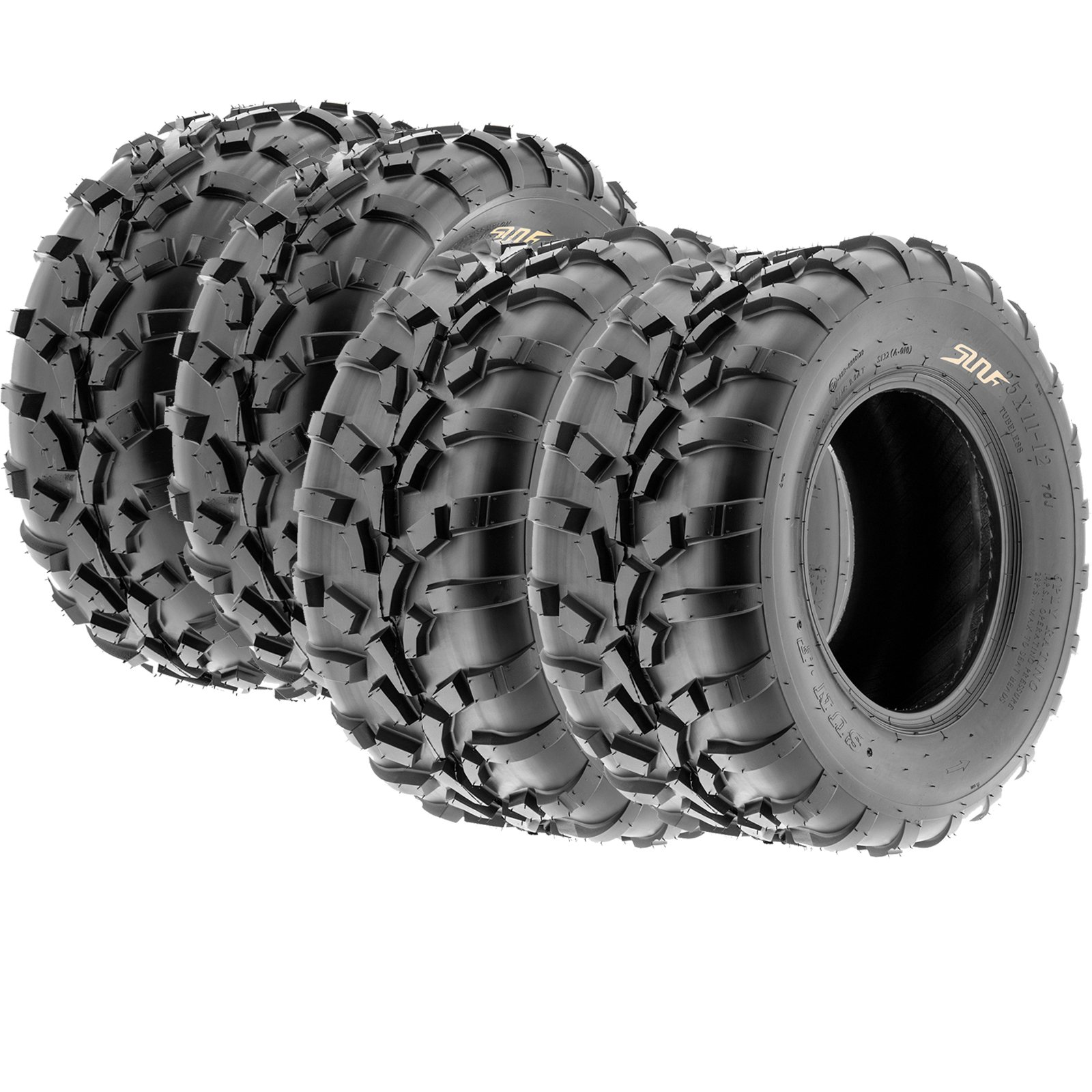 Set of 4 SunF A010 ATV UTV Tires 25x8-12 & 25x11-12, 6 Ply