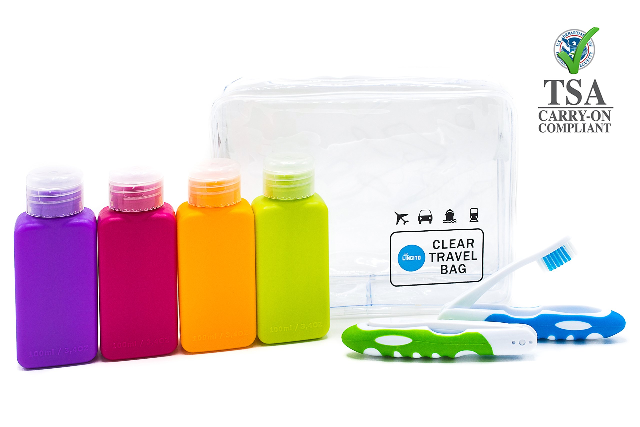 28ec2cb8f068 Details about Lingito Travel Bottle Set, Leak Proof Travel Accessories, TSA  Carry-On Approved,