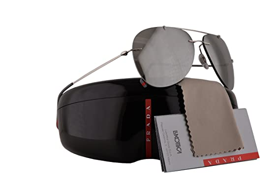 cc9c4687caa4d Prada PS50PS Red Feather Sunglasses Silver w Grey Mirror Silver Lens 60mm  1BC2B0 SPS50P PS 50PS SPS 50P  Amazon.co.uk  Clothing