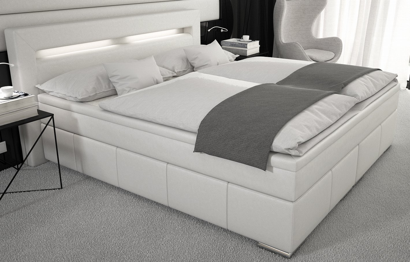 boxspringbett 180x200 cm led kunstleder weiss g nstig. Black Bedroom Furniture Sets. Home Design Ideas
