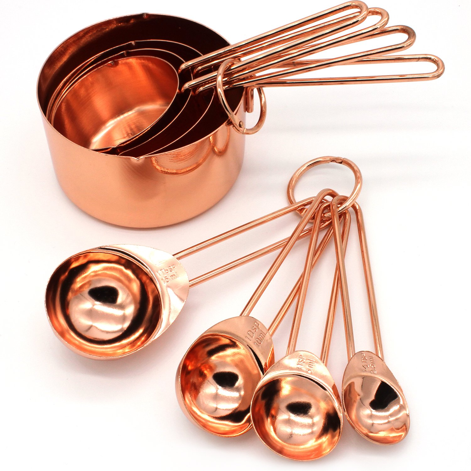 GOOD FOR YOU Copper Stainless Steel Measuring Cups and Spoons set of 8 Engraved Measurements, Pouring Spouts & Mirror Polished for Baking and Cooking - 60ml 80ml 125ml 250 ml Ideal For All Ingredients + Recipe e-book included White Kingfisher Ltd