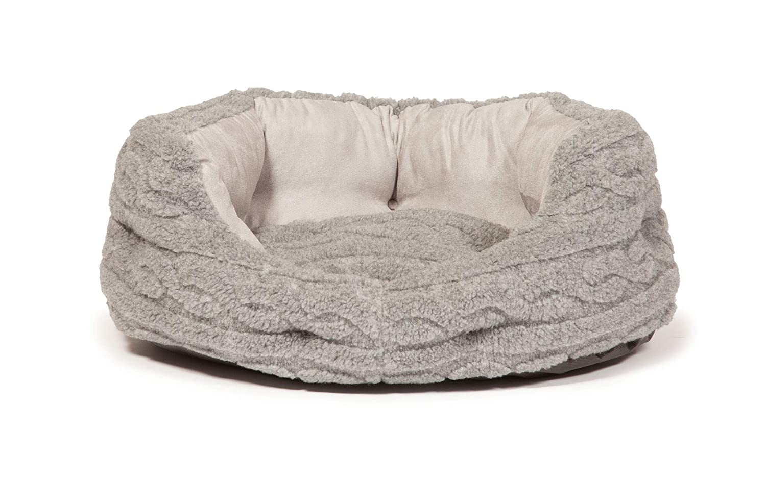 Danish Design Pet Products Bobble Cable Knit Deluxe Slumber Bed (24in) (Pewter)