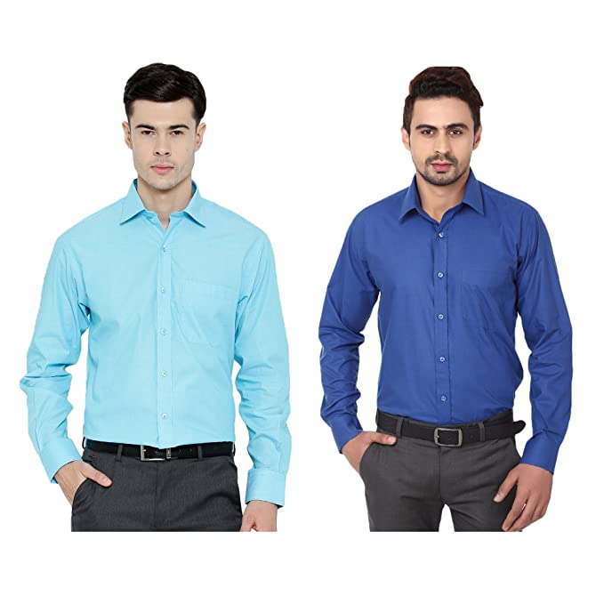 9ba1a76785 Oshano Combo of Men s Casual Plain Cotton Turquoise and Royal Blue Shirt  Cotton Shirt
