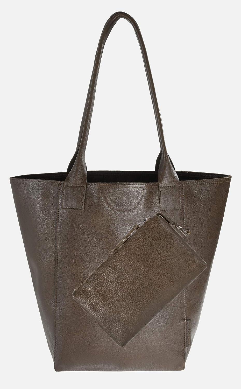 Wunschleder Shopping Bag av ekologiskt läder i svart, med magnetlås och innerficka axelväska BRUN