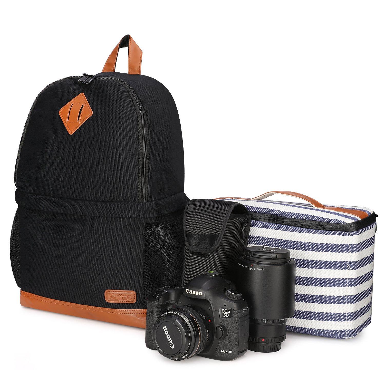 Kattee Mens' Canvas SLR DSLR Camera Backpack 15.7'' Laptop Bag for Canon Nikon with Waterproof Rain Cover Tripod Holder (Black, Large)