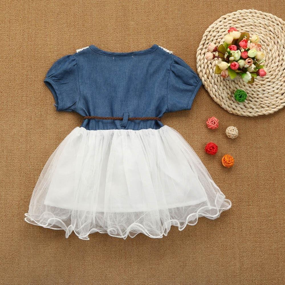 Goodtrade8 Toddler Baby Girl Ruffle Lace Denim Sundress Kids Short Sleeve Tutu Tulle Gown Skirt