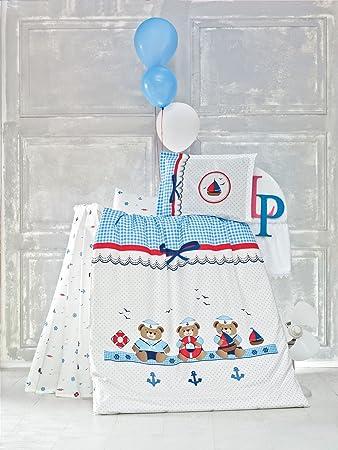 Kinderbettwäsche 100x135 Bettgarnitur Baby Bettwäsche 2 tlg. Bettset 100% Baumwolle Sailor Bären Bärchen Blau Weiß Jungen