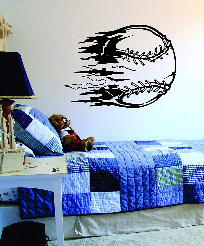 Fastball Baseball Original Wall Decal Sticker Vinyl Art Bedroom Living Room Decor Decoration Teen Quote Inspirational Sports Softball Boy Girl Kids Team Strike Out Homerun Pitcher