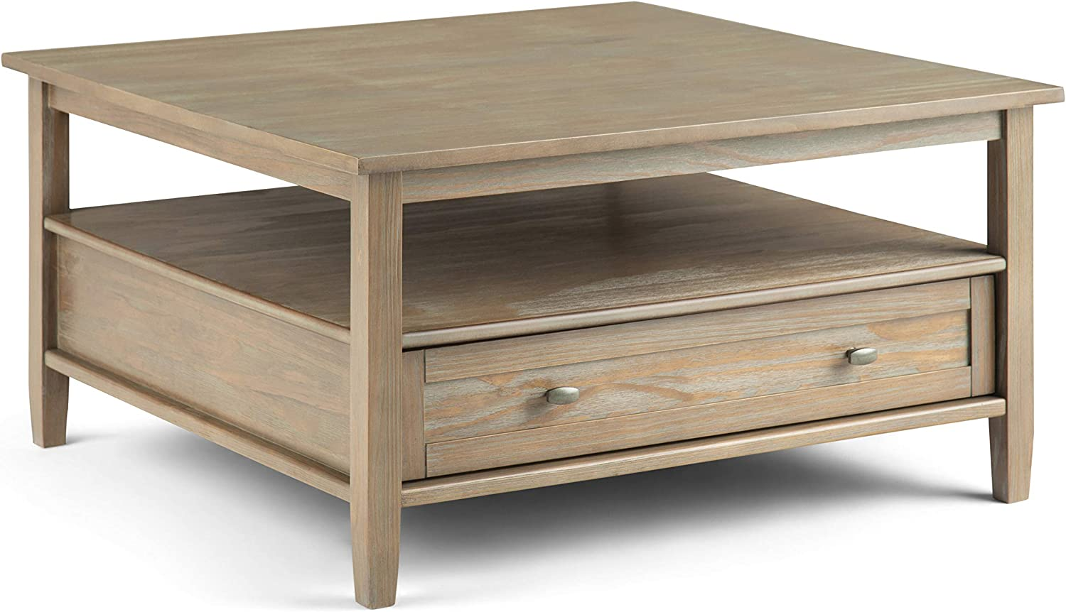 SIMPLIHOME Warm Shaker SOLID WOOD 36 inch Wide Square Rustic Coffee Table in Distressed Grey, for the Living Room and Family Room