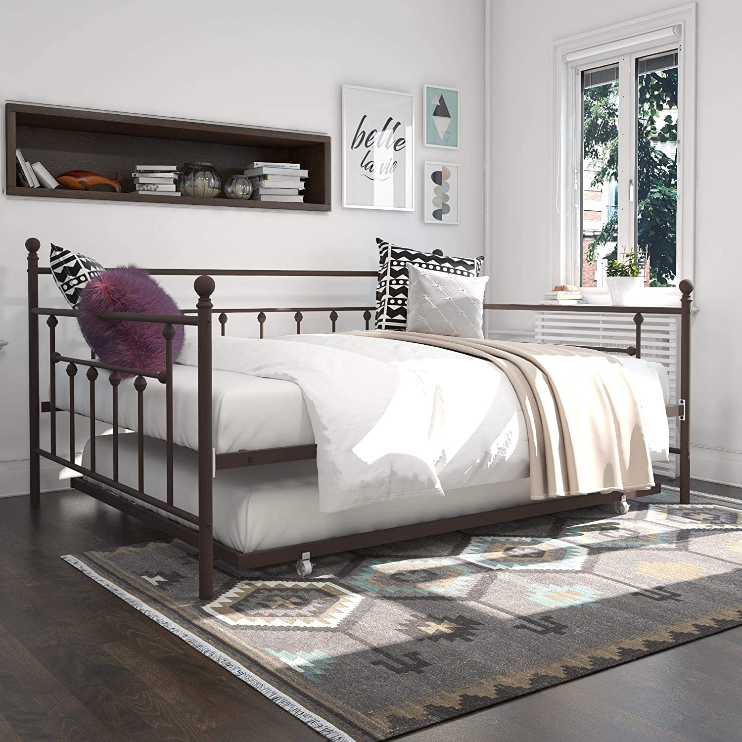 DHP Manila Queen Metal Full Size Trundle, Bronze Daybed