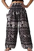 Bangkokpants Women's Yoga Pants Boho Elephant Design Plus Size US 14-22