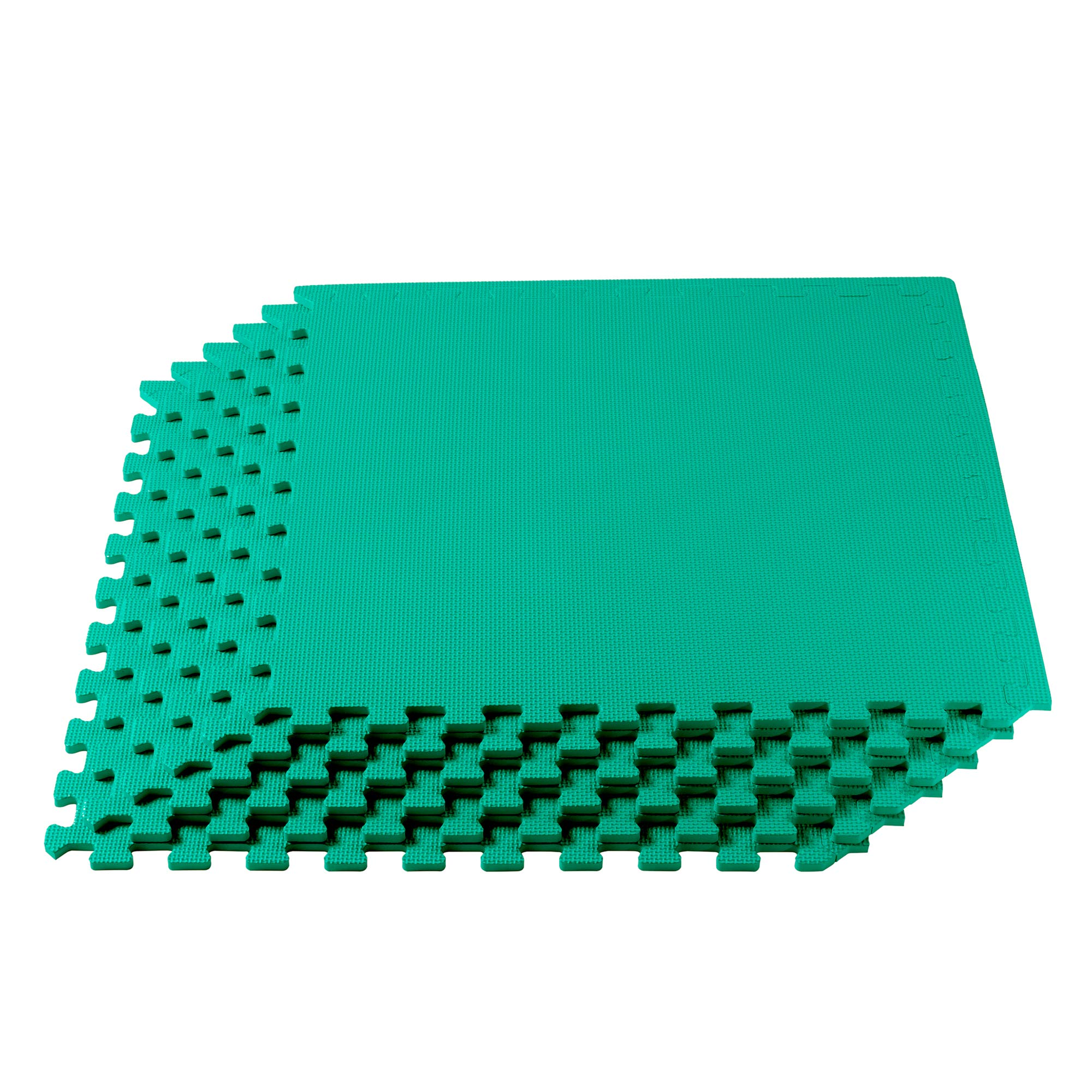 We Sell Mats Multipurpose Exercise Floor Mat with EVA Foam, Interlocking Tiles, Anti-Fatigue, for Home or Gym, 16 Square Feet (4 Tiles), 24 x 24 x 3/8 Inches, Green
