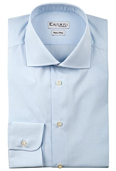 72f9357d3908d2 Ernani Shirt - Poplin Check Light Blue Slim Fit Shirt