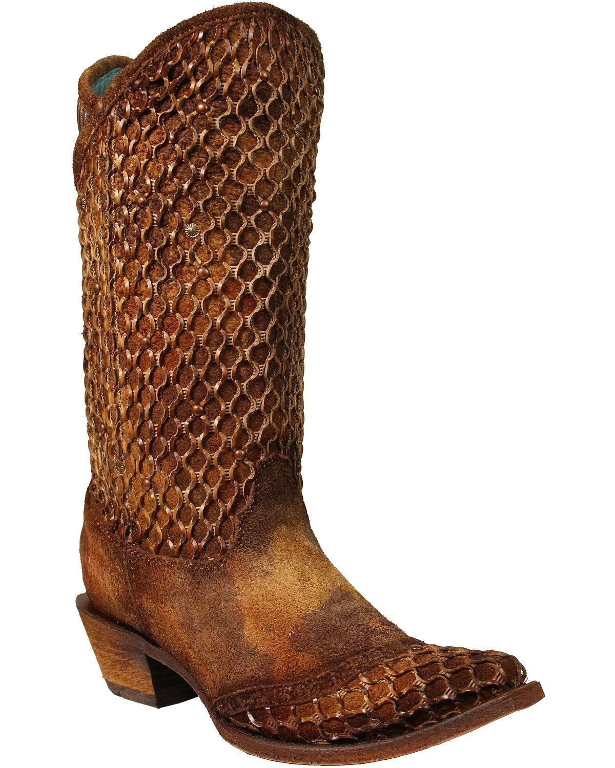 Corral Boot B073SB74PM Company Womens Camel Netting Overlay Stud Boots B073SB74PM Boot 9.5 M US|Camel 8bca5e