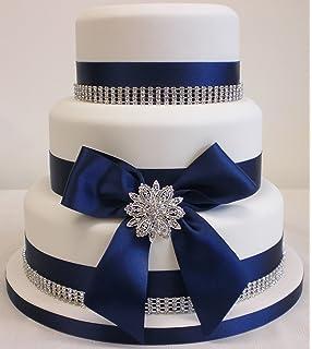 Mr Mrs Rose Gold Wedding Cake Topper Bow Ribbon Set Diamante