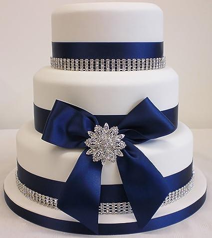 Cake Decoration Wedding Cake Rhinestone Brooch Rhinestone Trim And Satin Ribbon Cake Topper Set Navy Blue