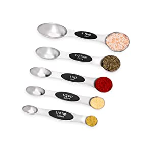 Internet's Best 5 Count Magnetic Measuring Spoon Set, Stainless Steel