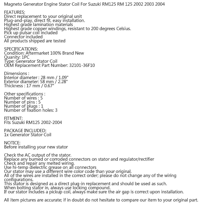 Areyourshop Stator per Su-zu-ki RM125 RM 125 2002 2003 2004 OEM Repl 32101-36F10 RM125