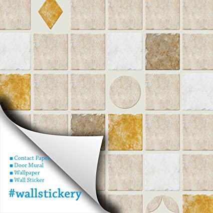 Wallstickery paper prepasted wallpaper for wall stickers tile pattern self adhesive removable peel and stick DIY