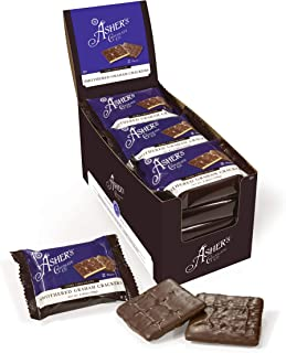 product image for Asher's Chocolates, Gourmet Chocolate Covered Graham Crackers, 2 Packs of Sweet and Salty Candies, Small Batches of Kosher Chocolate, Family Owned Since 1892 (30 Count, Dark Chocolate)