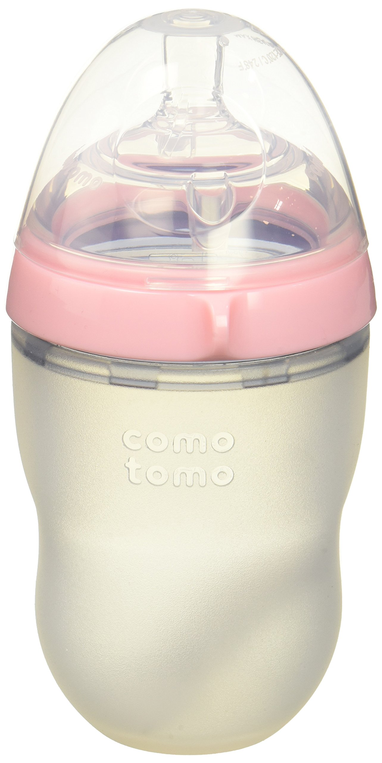 Comotomo Natural Feel Bundle - 2 Items:  8 Ounce Baby Bottle Pink, Extra Pack Medium Flow Nipples by Comotomo