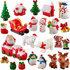 Christmas Miniature Ornaments Kit Set of 25 Pieces DIY Snowy Winter Fairy Garden Dollhouse Decoration Cute Cartoon Mini Landscape Decor