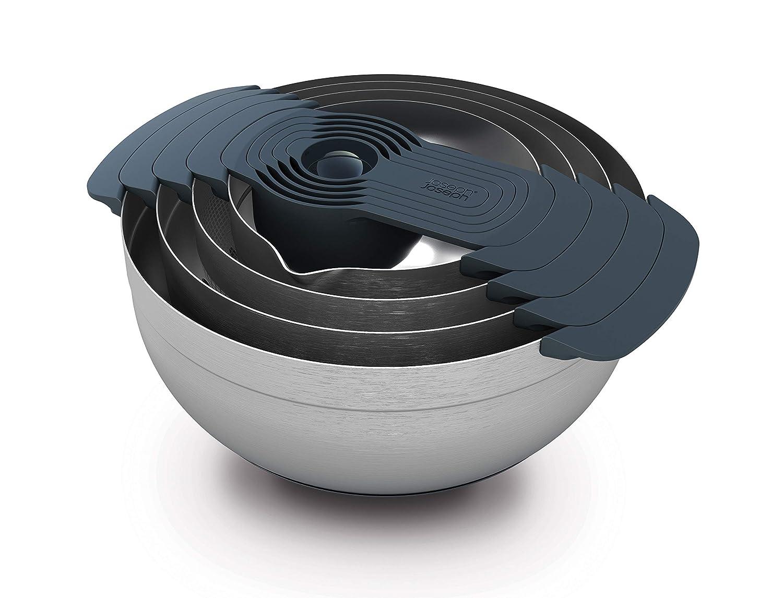 Joseph Joseph 9 Stainless Steel Compact Nesting Mixing Bowl Set Measuring Tools Sieve Colander Food Prep Dishwasher Safe Non-Slip, 9-Piece, Silver