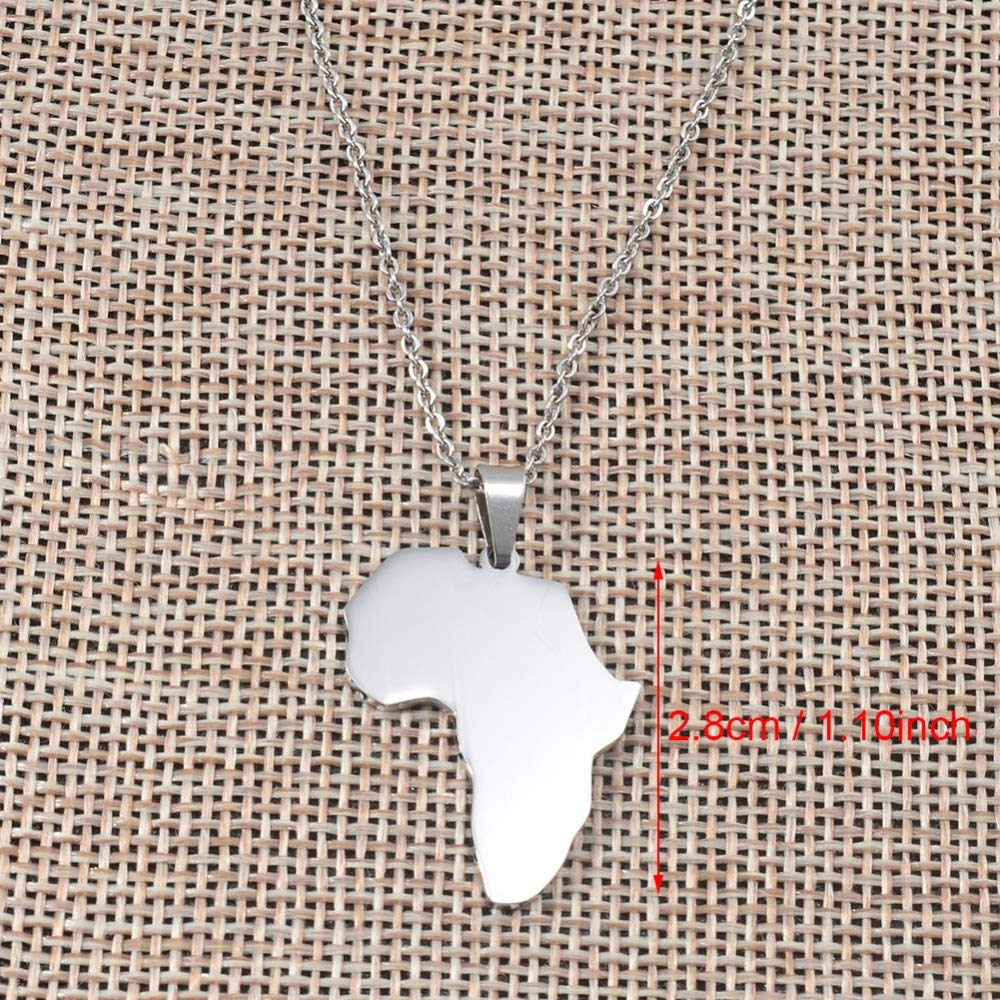 Davitu Africa Map Pendant Necklace Silver Polishing Stainless Steel Jewelry Brand Fashion Jewellery African Gifts #058921 Length: 45cm