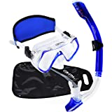 Coastal Aquatics Adult Dry Snorkel and Mask set - Waterproof Gear Bag - Neoprene Mask Strap Cover - Tempered Glass - Anti-Fog Lens - Snorkeling Gear - Snorkeling Package