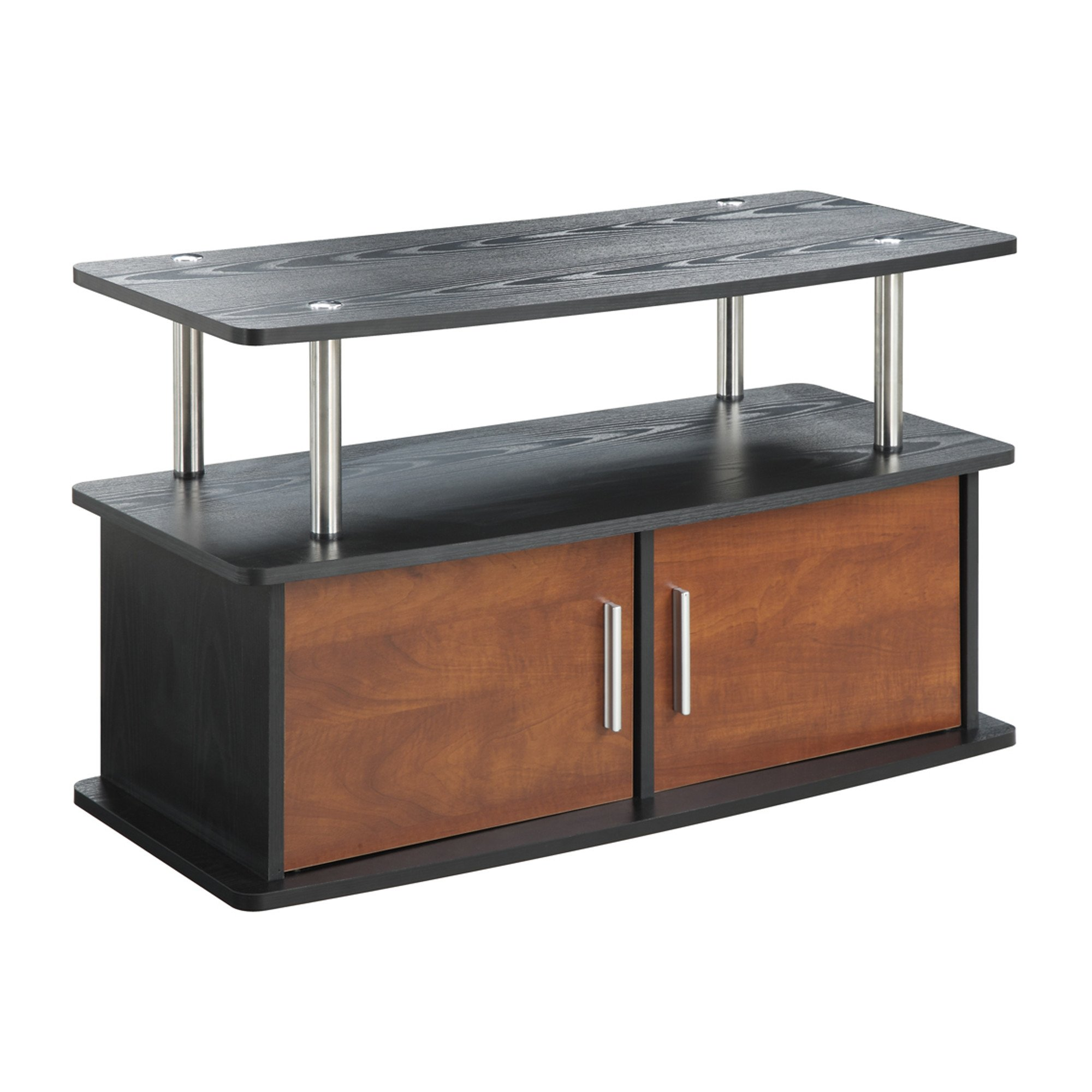 TV Stand Entertainment Center Media Gaming Storage Cabinet for DVDs, CDs, Video Games, Books, Video Devices (Black with Cherry Doors)