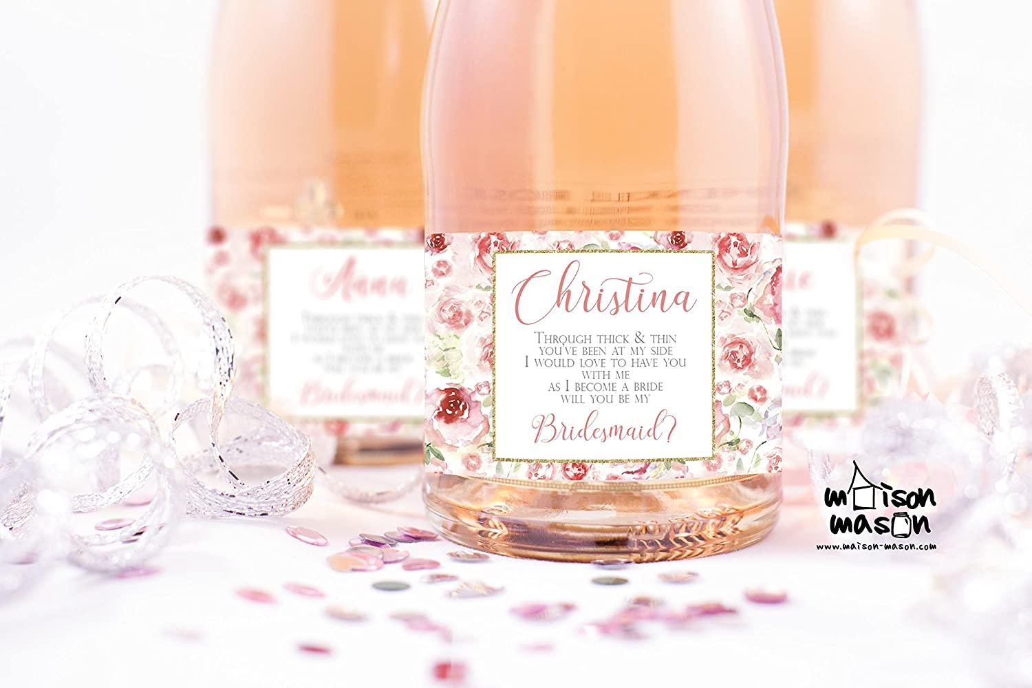 PERSONALIZED Watercolor Floral Pink and Gold Will you be my Bridesmaid, Will you be my Maid of Honor mini champagne or mini wine labels, SET OF 10