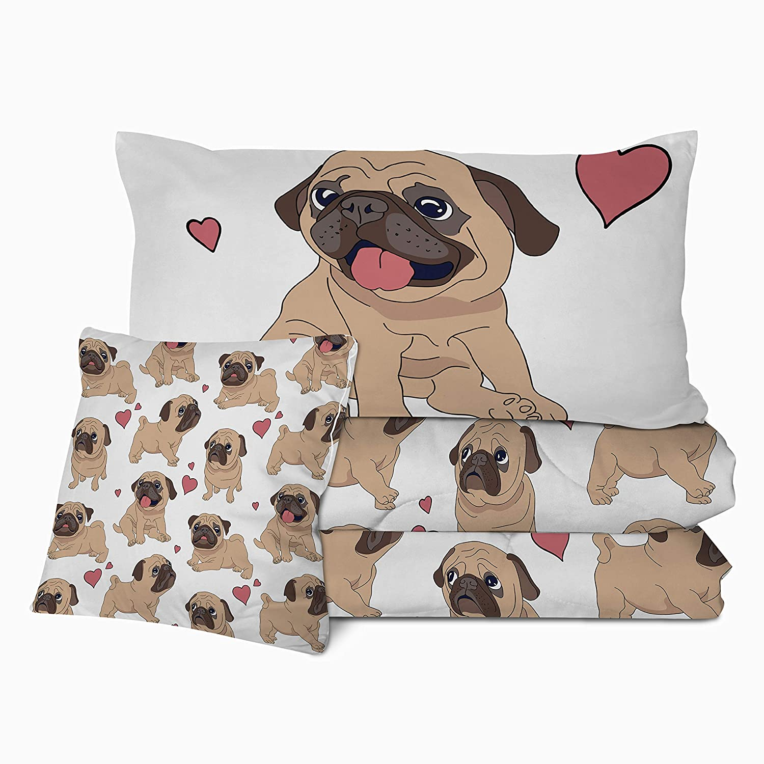 Sleepwish Puppy Pug Comforter Set 3D Dog Printed Full Size Comforter 4 Pieces Cute Pet Hearts Bedding Sets with with 2 Pillow Shams and 1 Cushion Cover Lightweight Super Soft and Fluffy